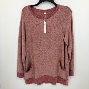 Red Cozy Long Sleeve Shirt Women's Small